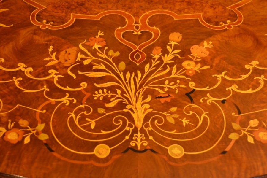 Marquetry tables from Bespoke dining tables