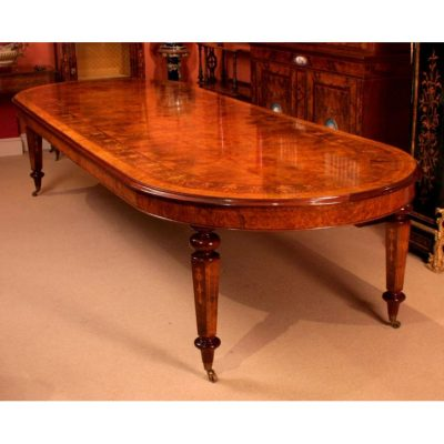 00917-Amazing-Bespoke-Handmade-12ft-Victorian-Style-Burr-Walnut-Marquetry-Dining-Table-2