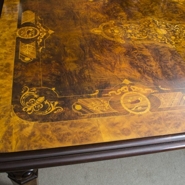 06703-Stunning-Bespoke-Handmade-10ft-Burr-Walnut-&-Marquetry-Dining-Table-11