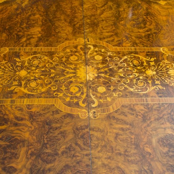 06703-Stunning-Bespoke-Handmade-10ft-Burr-Walnut-&-Marquetry-Dining-Table-13