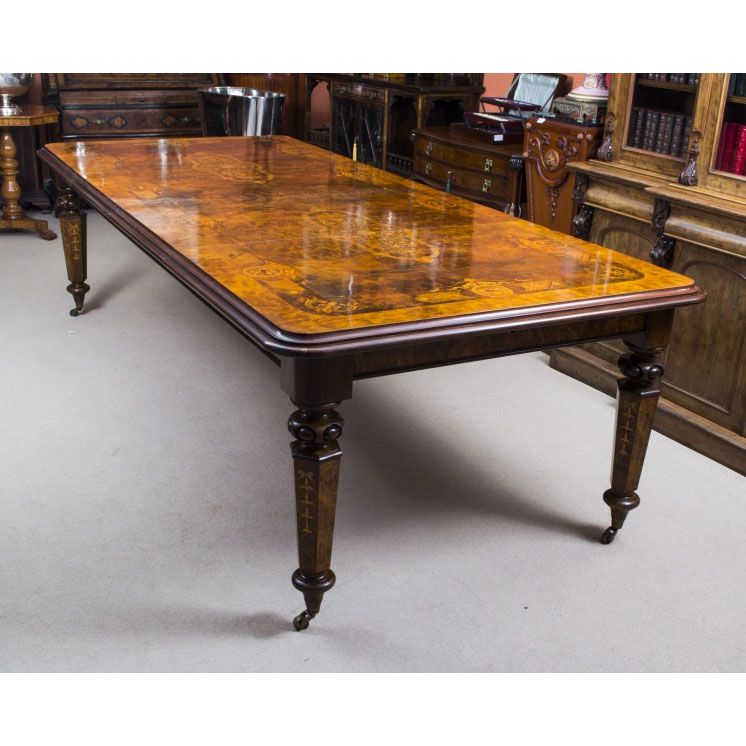 10ft Burr Walnut & Marquetry Bespoke Dining Table - Handmade ...