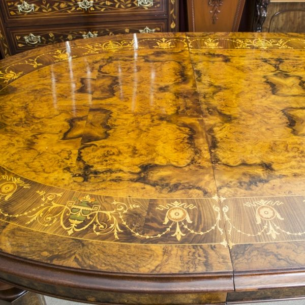 00059-Stunning-Bespoke-Handmade-Burr-Walnut-10ft-Oval-Marquetry-Dining-Table-10