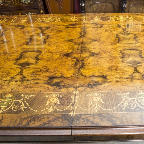 00059-Stunning-Bespoke-Handmade-Burr-Walnut-10ft-Oval-Marquetry-Dining-Table-9