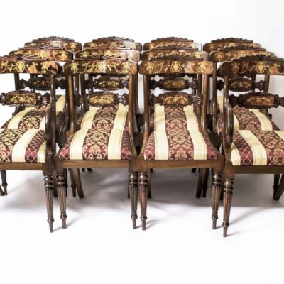 Bespoke Marquetry Dining Chairs Regency Style