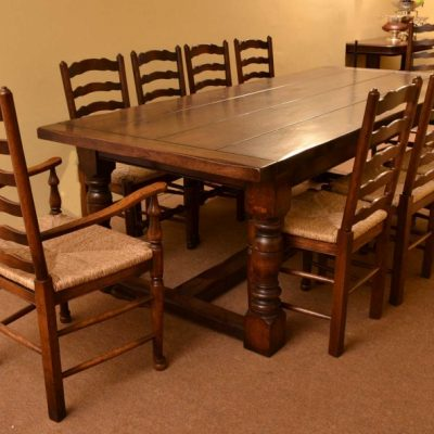 03869a-Bespoke-Solid-Oak-Refectory-Dining-Table-&-10-Chairs-2