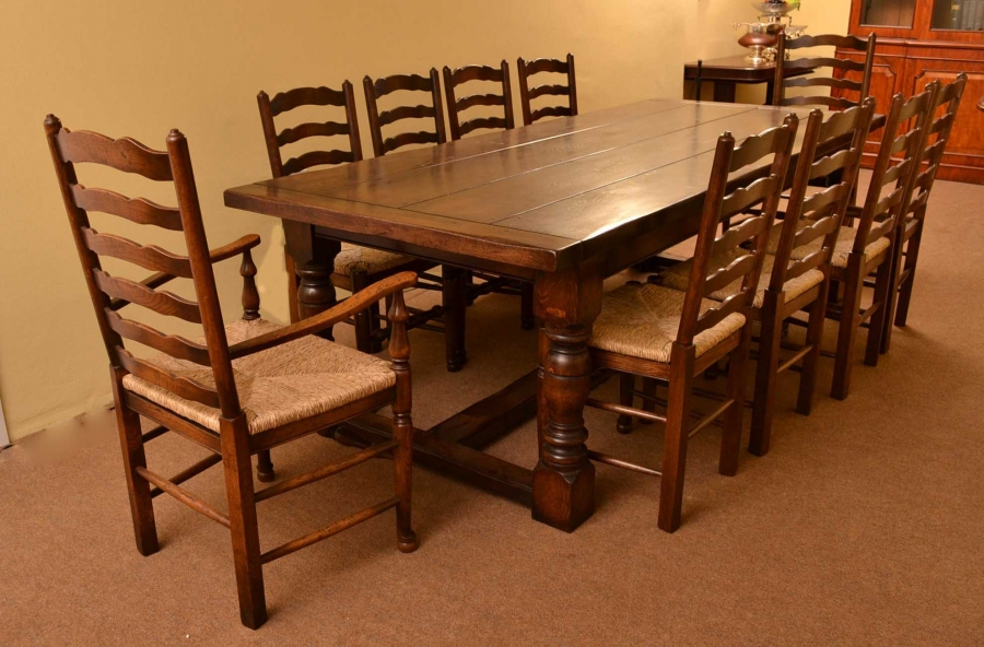 Bespoke Solid Oak Jacobean Style Refectory Dining Table 10 Chairs Bespoke Dining Tables